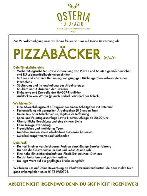 Stellenangebote Pizzeria Freudenstadt Pizzabäcker