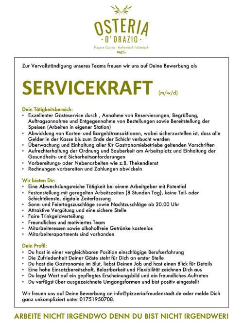 Stellenangebote Pizzeria Freudenstadt Servicekraft